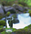 A glass of water standing on a rock in nature
